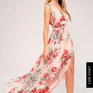 Lulus BLUSH FLORAL PRINT MAXI DRESS